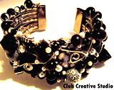 Club Creative Studio Black and White hand-made cuff bracelet.