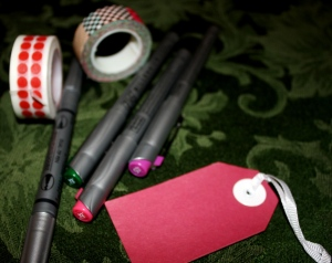 Basic supplies for gift-tag making.