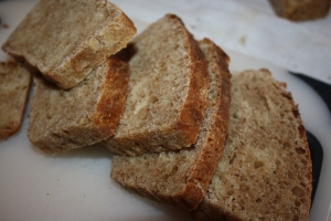 My home-made bread sliced and ready to enjoy.