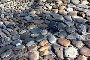 Rocks, pebbles, stones...oh my! my photo is from an old street in downtown Philadelphia.
