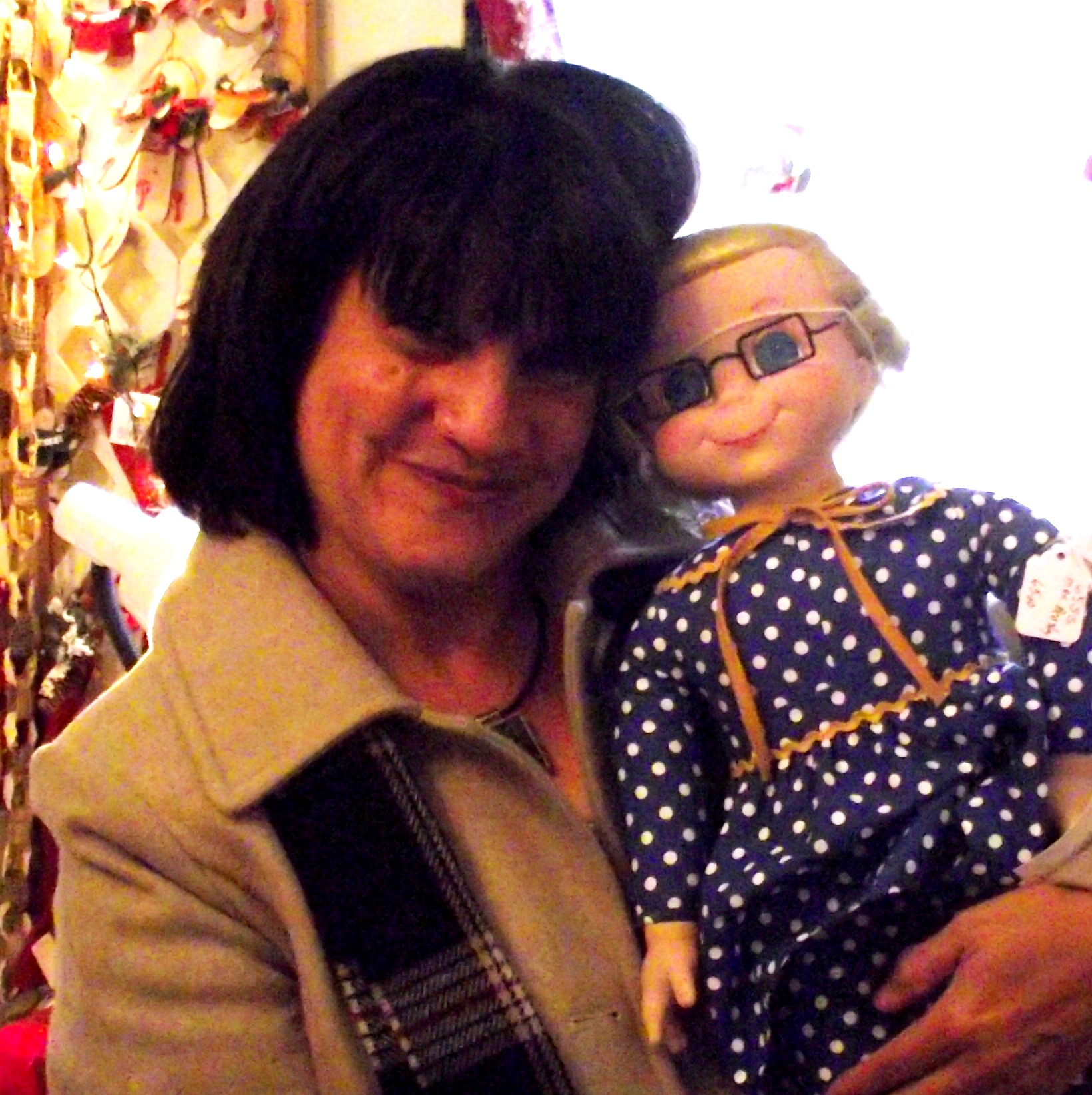 This is Mrs. Beasley and me. She is my blast from the past doll.