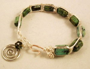 Turquoise bracelet hand-twisted wire from Club Creative Studio.