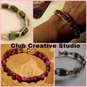Hand-made wire bracelets by Club Creative Studio.